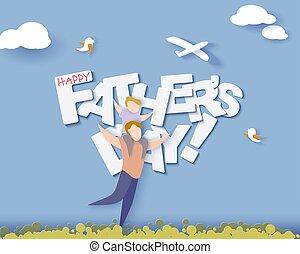taglio, card., padri, style., carta, giorno, felice