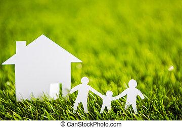 taglio, famiglia, primavera, albero, carta, casa verde, fresco, erba