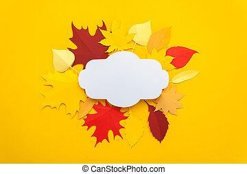 taglio, foglie, giallo, autunno, fondo., carta