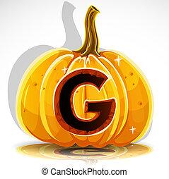 taglio, g, halloween, pumpkin., font, fuori