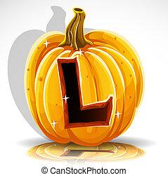 taglio, halloween, l, pumpkin., font, fuori