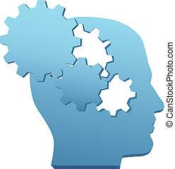 taglio, ingranaggio, mente, innovazione, tecnologia, pensare, fuori