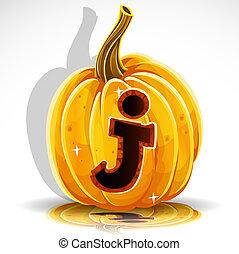taglio, j, halloween, pumpkin., font, fuori