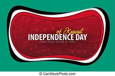 taglio, kuwait., card., augurio, giorno, carta, style., indipendenza