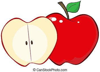 taglio, mela intera, rosso