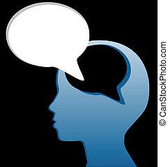 taglio, mente, discorso, sociale, parlare, bolla, pensare, fuori