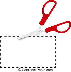 taglio, punteggiato, buono, forbici, linea, rosso, fuori