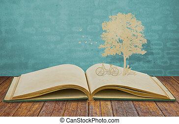 taglio, vecchio, leggere, albero, bambini, carta, sotto, libro