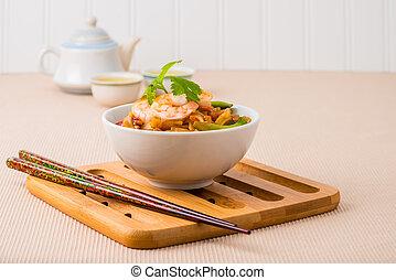 tailandese, cuscinetto, pasto, gamberetto
