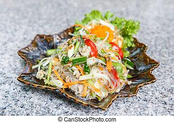 tailandese, vermicelli, insalata