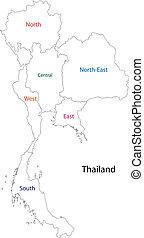 tailandia, contorno, mappa