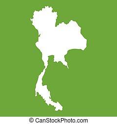 tailandia, mappa, verde, icona