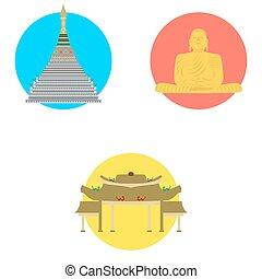 tailandia, set, icone