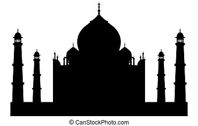 taj mahal, tempio, silhouette