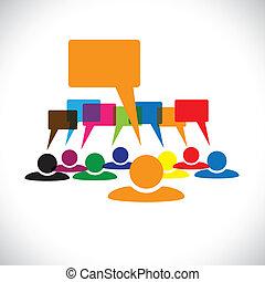 talking(speech, concetto, &, graphic-, lavorante, vettore, bubbles), condottiero
