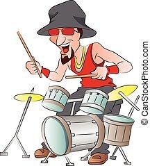 tamburi, gioco, illustrazione, uomo