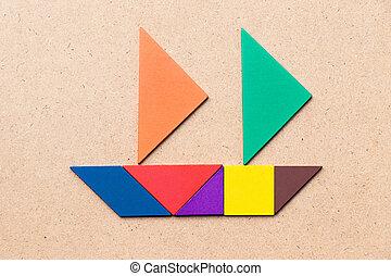 tangram, navigazione, colore affari, su, inizio, forma, legno, (concept, entrepreneur), fondo, o, barca