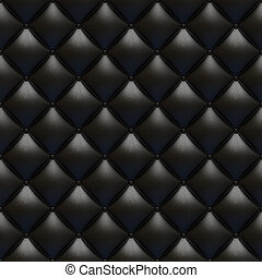 tappezzeria cuoio, nero, seamless, struttura