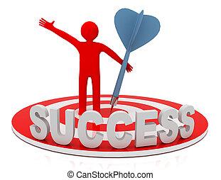 target., colpo, successo, business., 3d, uomo