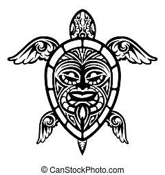 tartaruga, tatuaggio, su, vettore, polinesiano, chiudere