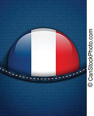tasca, bottone, jeans, bandiera, francia