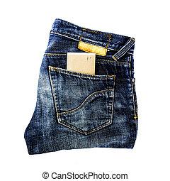tasca, testo, carta, jeans, spazio