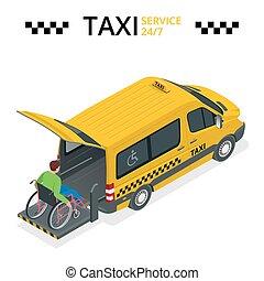 tassì, appartamento, minibus, illustration., fisicamente, automobile, persone., isometrico, lift., invalido, vettore, uomo, veicolo, 3d, o, wheelchair.