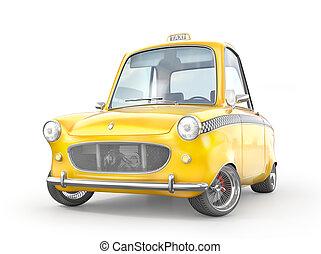 tassì, automobile, concept., isolato, giallo, illustrazione, white., 3d, retro