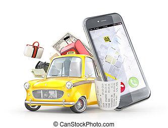 tassì, borse, telefono, automobile, concept., illustrazione, fondo., giallo, bianco, 3d, viaggiare, retro