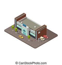 tassì, centro commerciale, persone, automobili, illustrazione, centro commerciale, vettore, parcheggio, o, 3d