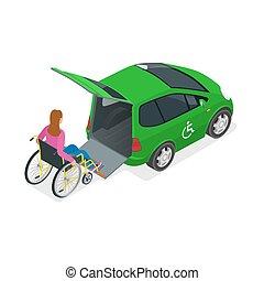 tassì, mini, isometrico, donna, wheelchair., appartamento, fisicamente, automobile, persone., lift., invalido, vettore, illustrazione, veicolo, o, 3d