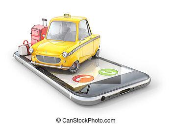 tassì, telefono, automobile, concept., illustrazione, fondo., giallo, bianco, 3d, schermo, retro