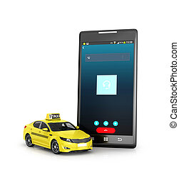 tassì, telefono, mobile, isolato, giallo, fondo., illustrazione, bianco, 3d