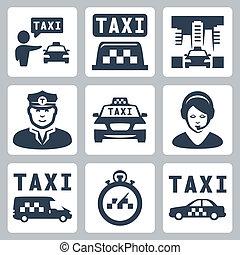 tassì, vettore, set, isolato, icone