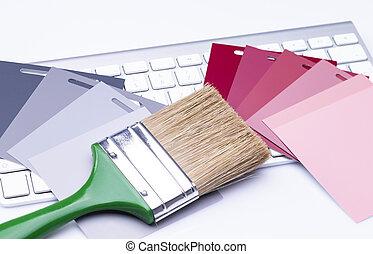 tastiera, colorare, spazzola, cartelle