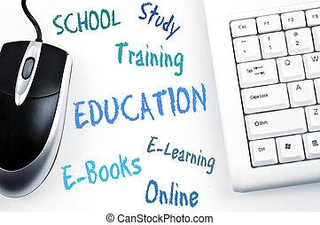 tastiera, piano, educazione, parola, computer