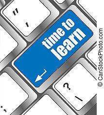 tastiera, tempo, -, su, imparare, concettuale, chiudere, vista