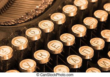 tastiera, vendemmia, sepia, macchina scrivere