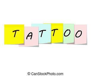 tatoo, note, scritto, colorito, appiccicoso