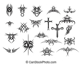 tatuaggi, bianco, set, nero, backg