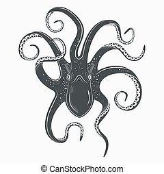 tatuaggio, calamaro, sottosopra, mollusco, polpo, o