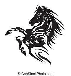 tatuaggio, cavallo, emblema, simbolo, isolato, o, disegno, logotipo, bianco, template.