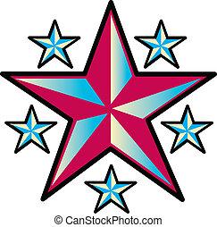 tatuaggio, disegno, arte, stelle, clip