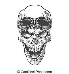 tatuaggio, elemento, illustration., cranio, vendemmia, isolato, manifesto, forehead., fondo., motociclista, vettore, disegno, motocicletta, disegnato, nero, sorridente, mano, bianco, club., occhiali