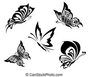 tatuaggio, farfalle, nero, bianco