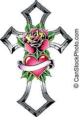 tatuaggio, gotico, croce