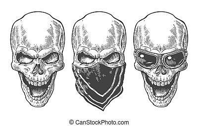 tatuaggio, illustration., cranio, vendemmia, bianco, isolato, manifesto, club., fondo., motociclista, vettore, disegno, disegnato, motorcycle., nero, sorridente, mano, bandana, elemento, occhiali