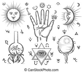 tatuaggio, magia, occultismo, simboli, vettore, spiritualità, chimica, alchimia
