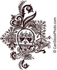 tatuaggio, paisley, cranio, roccia