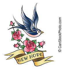 tatuaggio, rondine, amore, ramo, rosa
